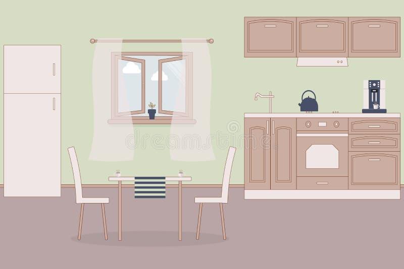 厨房家内部 室内家具:冰箱和火炉和碗柜和敞篷,水壶,露指手套,烤箱露指手套,咖啡机,水槽, 皇族释放例证