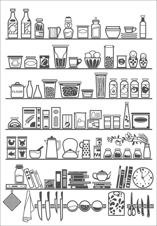 厨房或餐具室架子 向量例证
