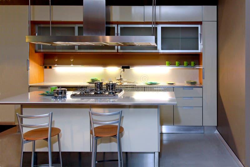 厨房晚上 免版税库存照片