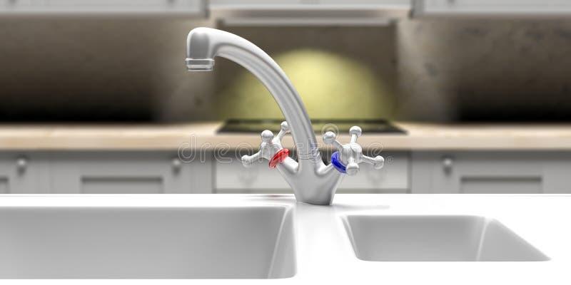 厨房水槽和水龙头特写镜头、迷离内阁和烹饪器材背景 3d例证 皇族释放例证