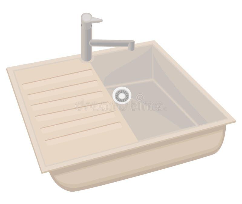 厨房水槽是干净和美丽的 在家庭的必要的事洗碗和食物的 r 皇族释放例证