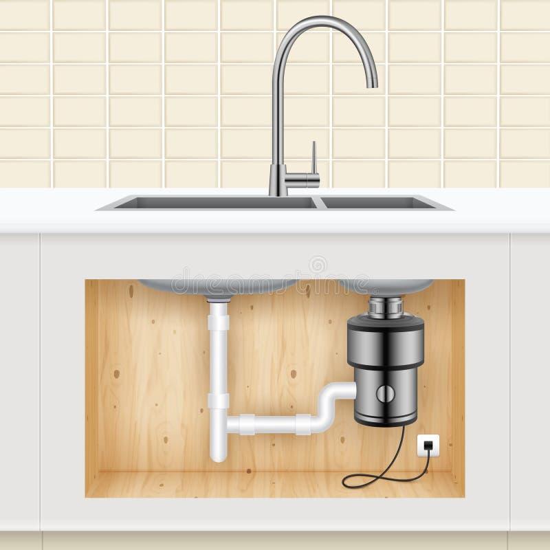 厨房水槽食物垃圾Disposer 皇族释放例证