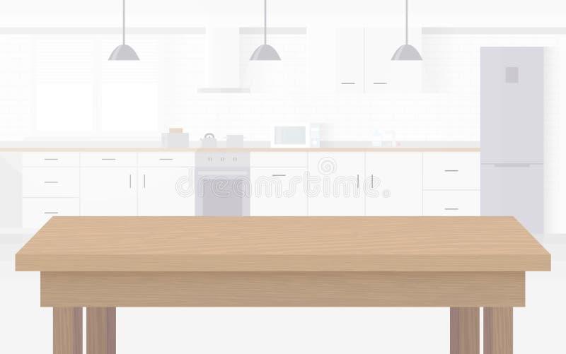 厨房现代新的轻的内部有白色家具的 向量例证