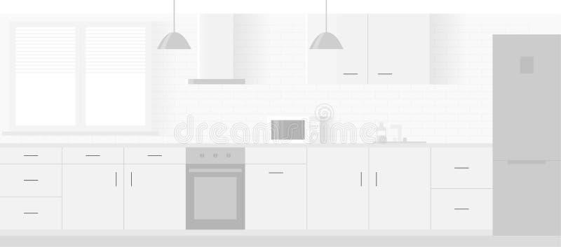 厨房现代新的轻的内部有白色家具的 库存例证
