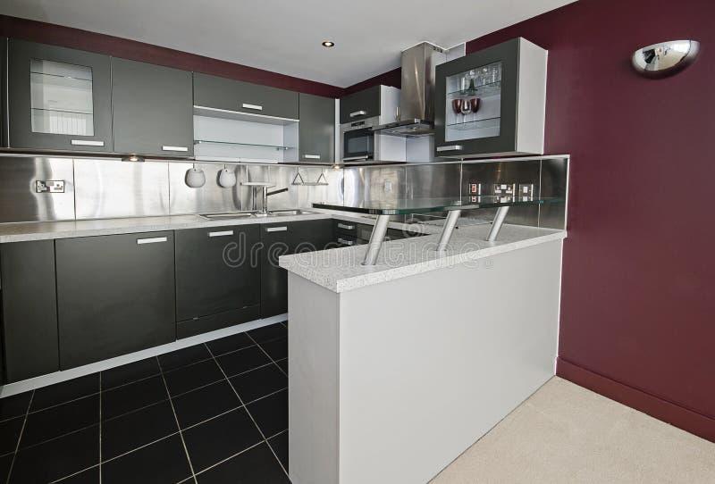 厨房现代紫色 免版税库存照片