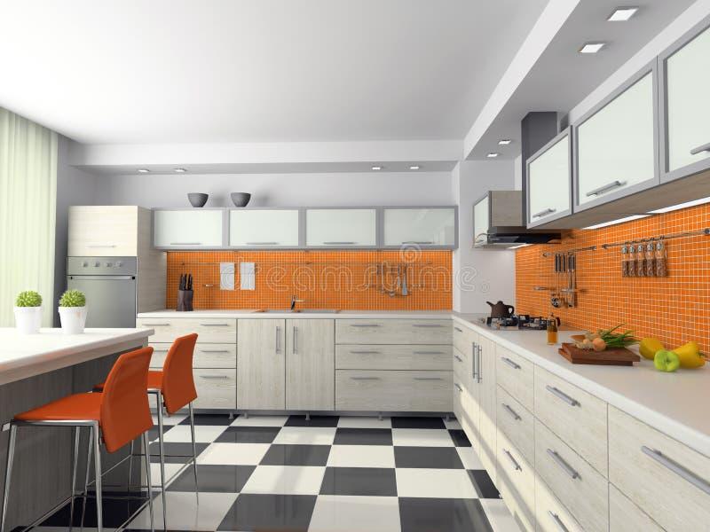 厨房现代视图 皇族释放例证