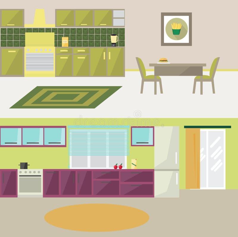 厨房现代平的设计 免版税库存照片
