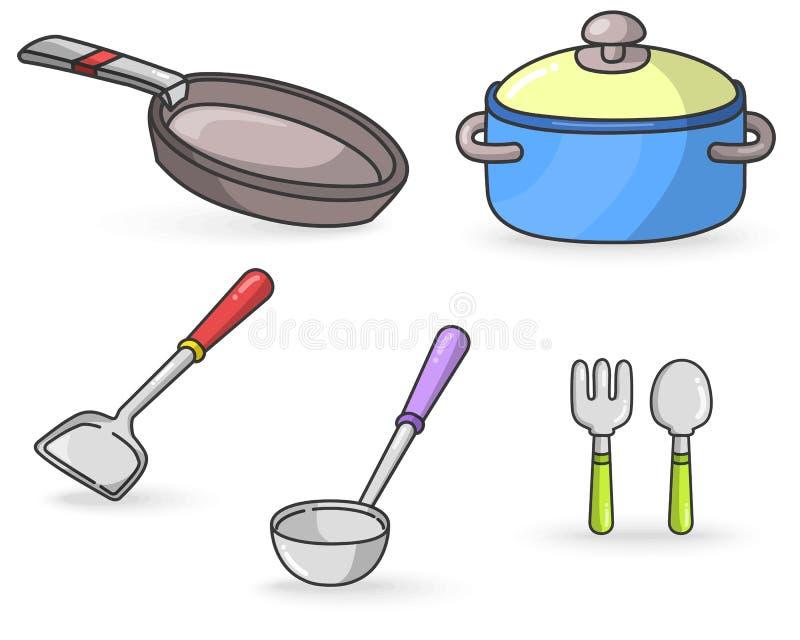 厨房用工具加工五颜六色的传染媒介 皇族释放例证