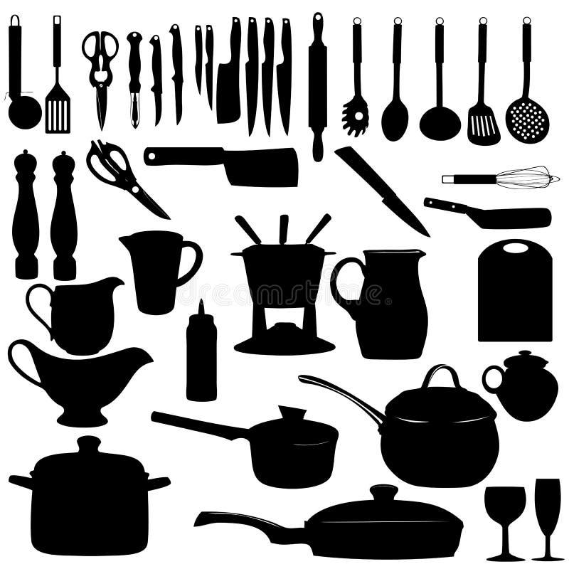 厨房用工具加工剪影传染媒介例证 向量例证