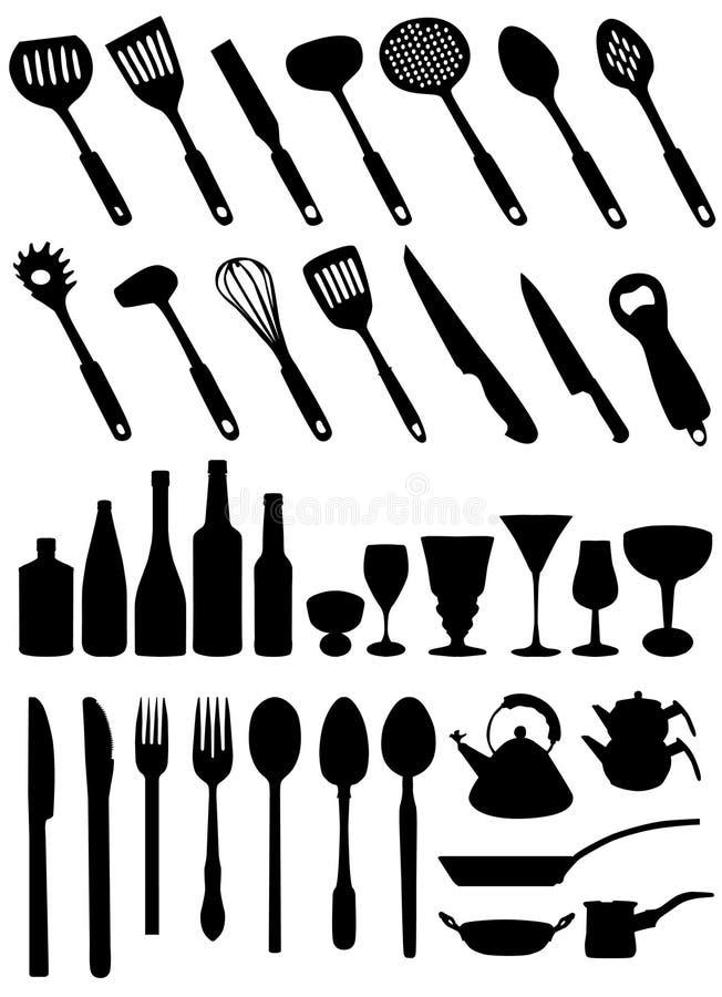 厨房用工具加工向量 库存例证