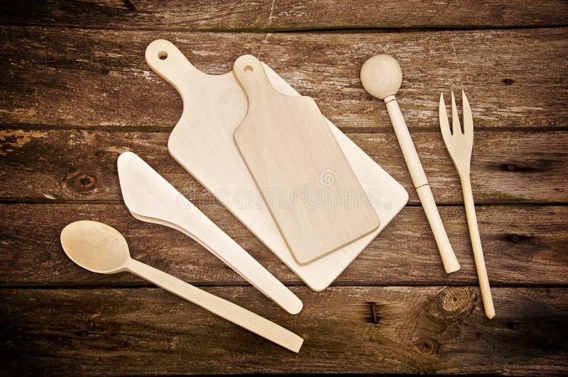 厨房用工具加工木 库存图片