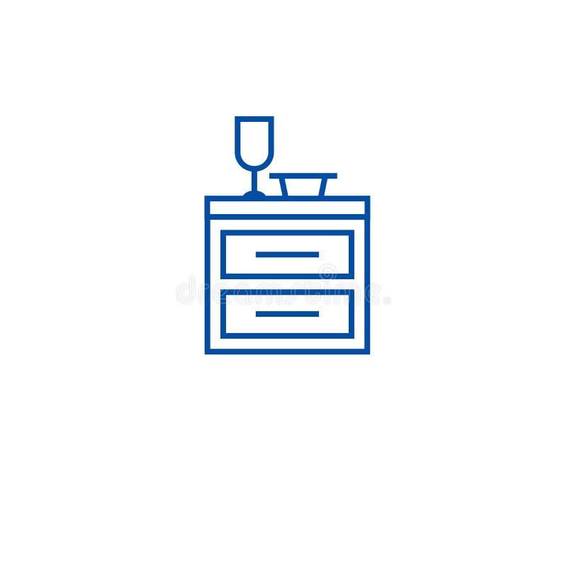 厨房碗柜线象概念 厨房碗柜平的传染媒介标志,标志,概述例证 向量例证