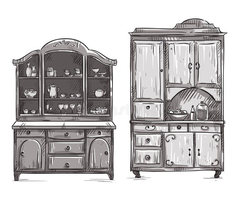 厨房碗柜,手拉 库存例证