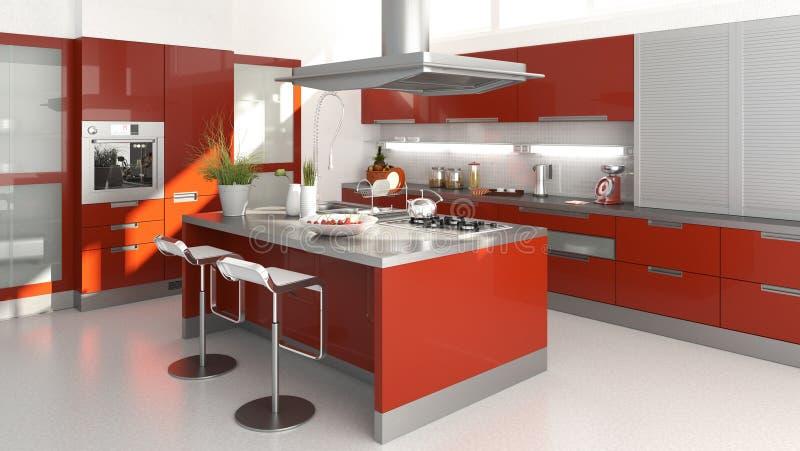 厨房红色 库存例证