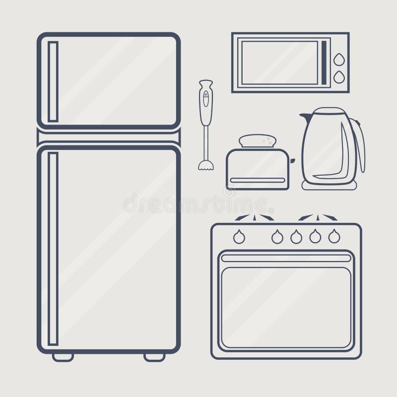 厨房线象 向量例证