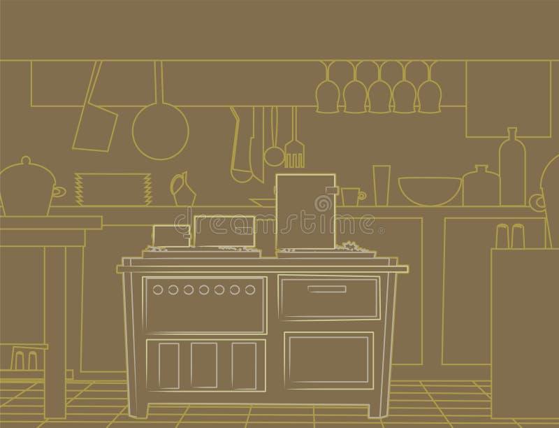 厨房线路 免版税库存照片