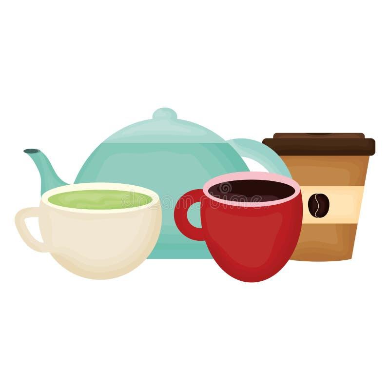 厨房茶壶和咖啡饮料 库存例证