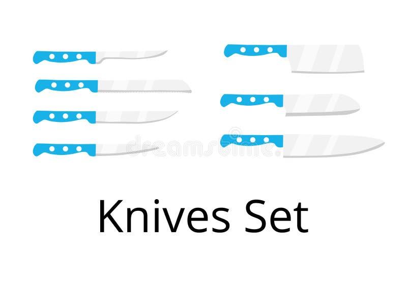厨房被设置的切刀 集合 皇族释放例证