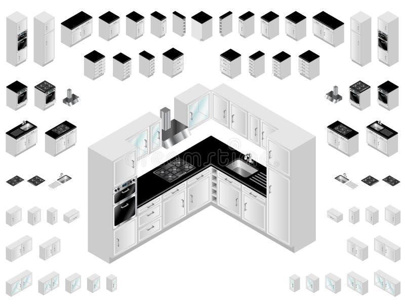 厨房设计要素 库存例证