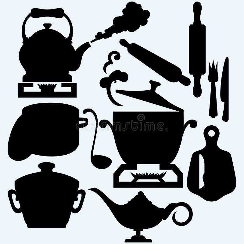 厨房集合器物 库存例证