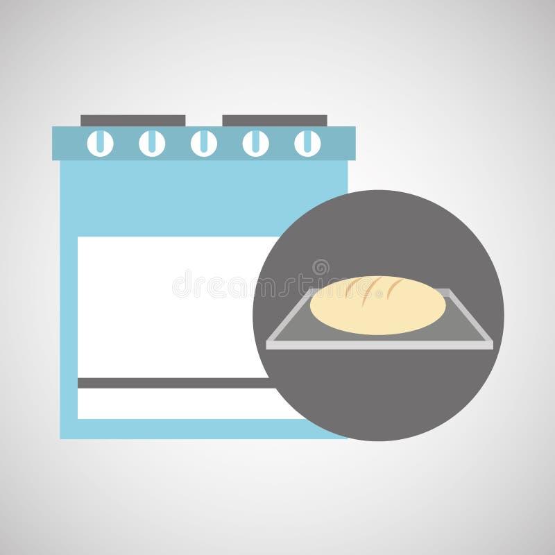 厨房面包店概念面包盘子 库存例证
