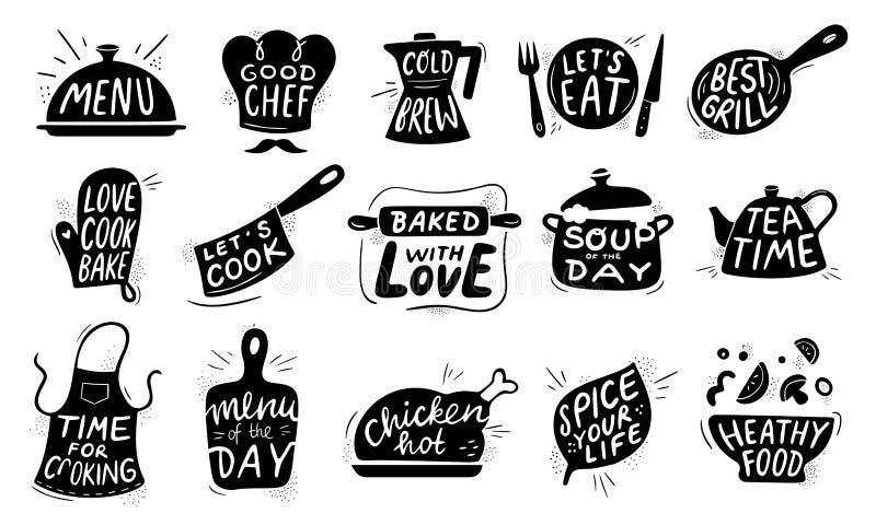 厨房食物字法 食家烹调食物证章,鸡食谱烹调和餐馆菜单字法传染媒介 向量例证