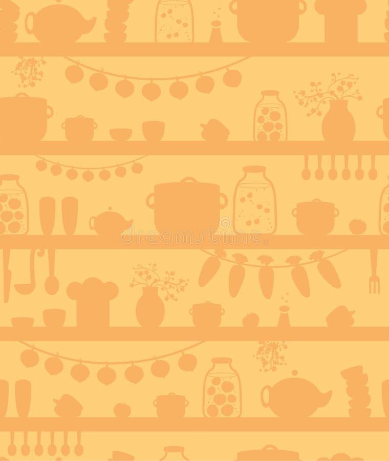厨房餐具室搁置无缝的样式背景 皇族释放例证