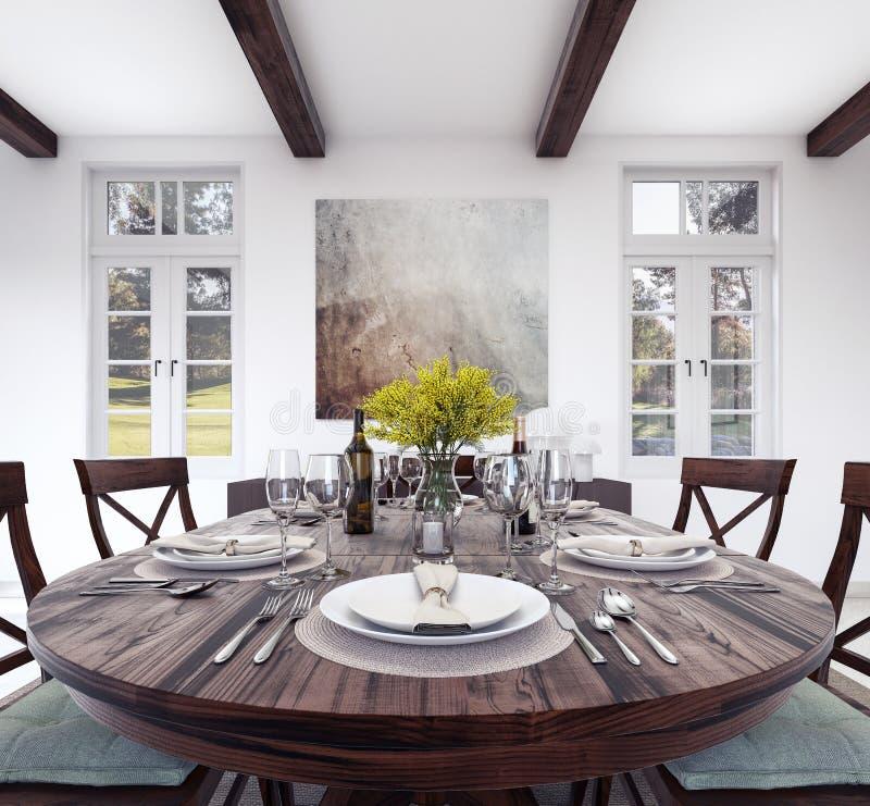 厨房饭桌设置 向量例证