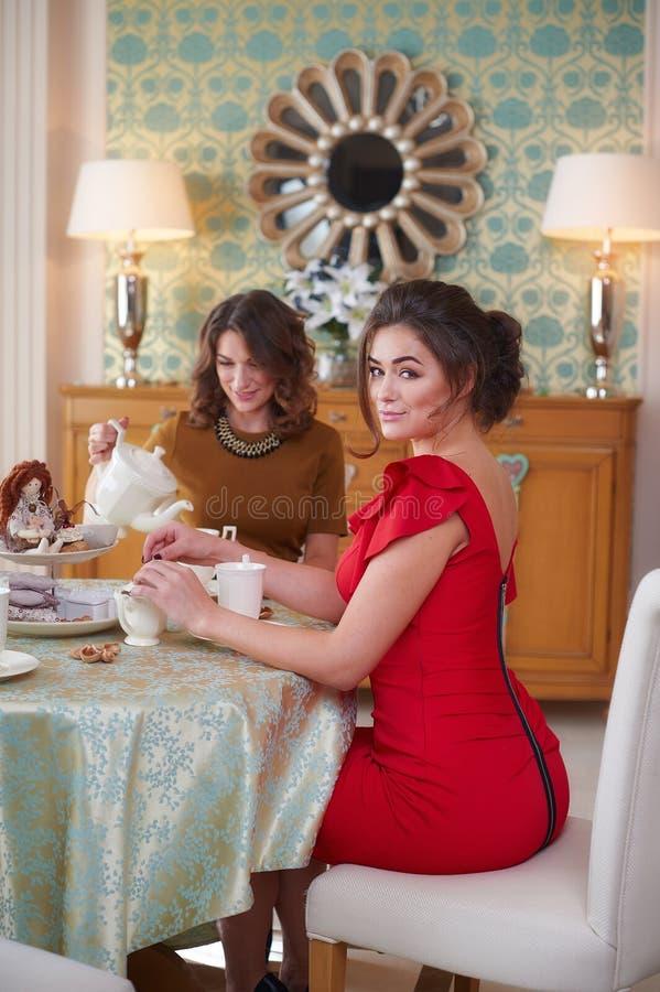 厨房饮用的茶的两名妇女 库存照片