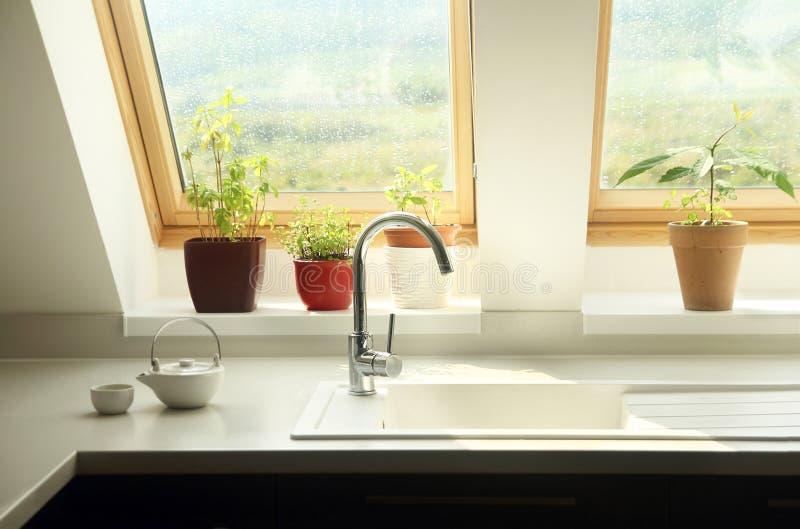 厨房水槽内部 免版税库存图片