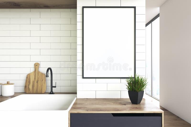 厨房水槽和海报 向量例证
