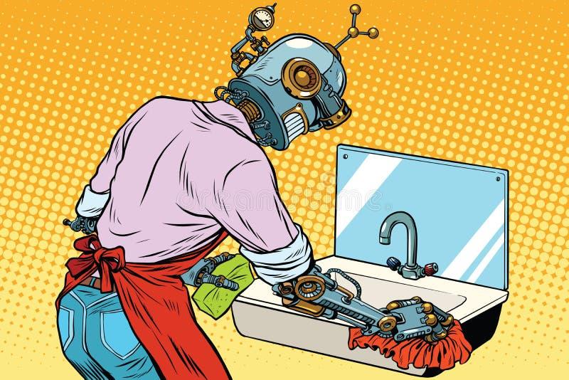 厨房水槽,机器人的家庭清洁洗涤运作 皇族释放例证