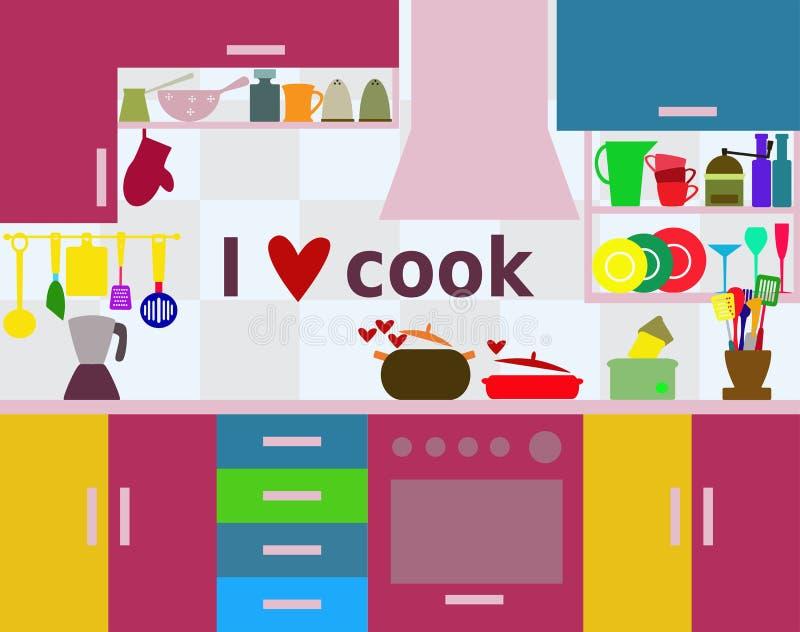 厨房-烹调概念的I爱 库存例证