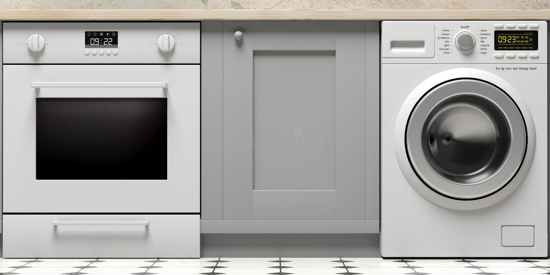 厨柜、电烤箱和衣裳洗衣机在铺磁砖的地板上 3d例证 皇族释放例证