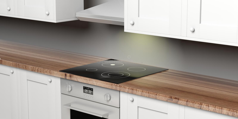 厨柜和eletric烤箱与陶瓷滚刀和敞篷 3d例证 向量例证
