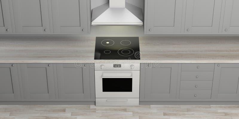 厨柜和eletric烤箱与陶瓷滚刀,木地板,看法从上面 3d例证 皇族释放例证