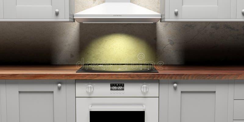 厨柜和eletric烤箱和敞篷,正面图 3d例证 向量例证