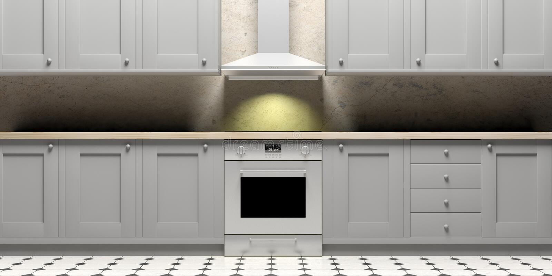厨柜和eletric烤箱在陶瓷砖地板,正面图上 3d例证 向量例证