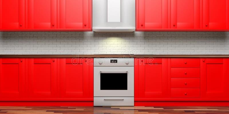 厨柜和eletric烤箱,木地板,正面图 3d例证 向量例证