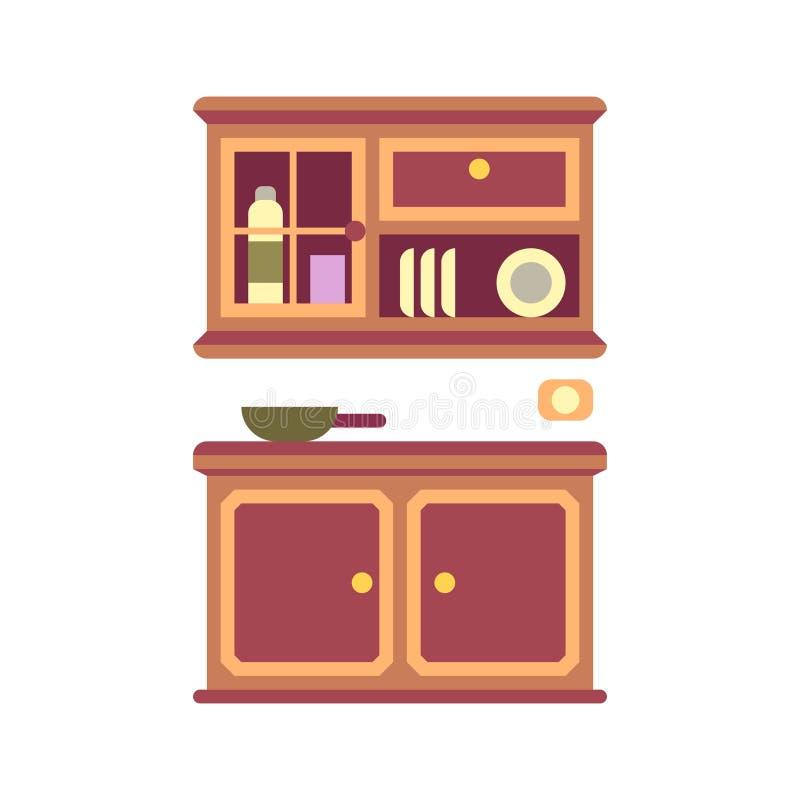 厨柜平的象 向量例证