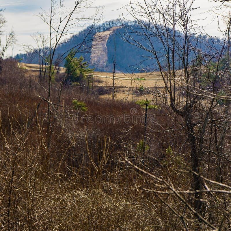 去在山的山谷管道 免版税库存照片