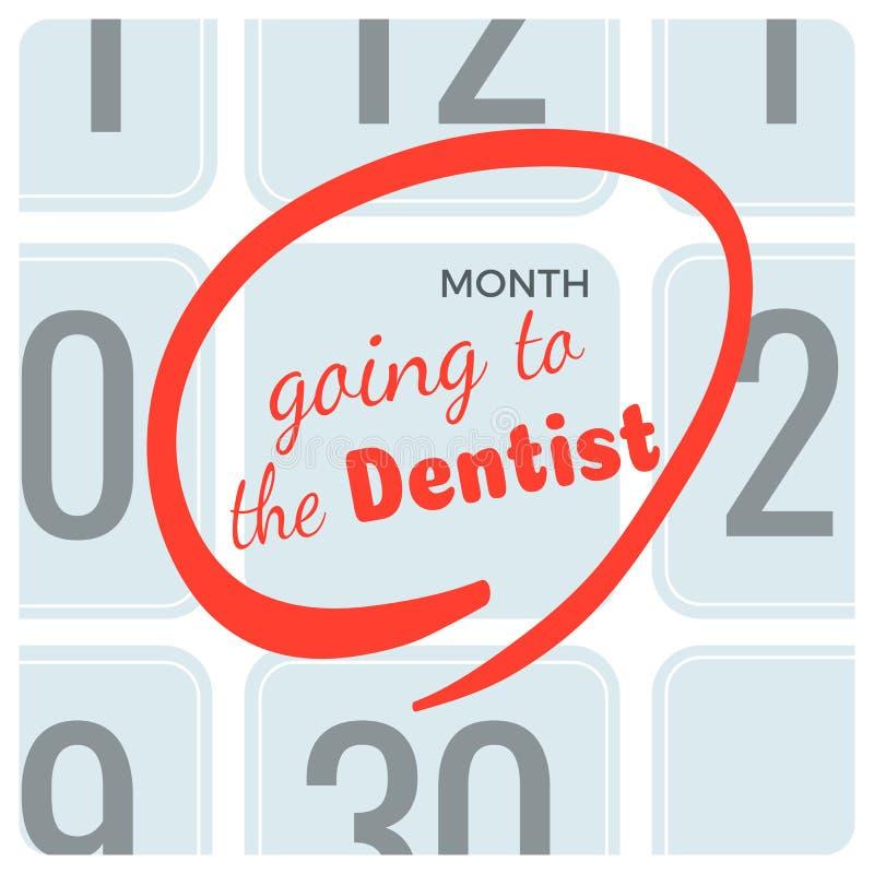 去在日历的牙医题字,明显任命 向量例证