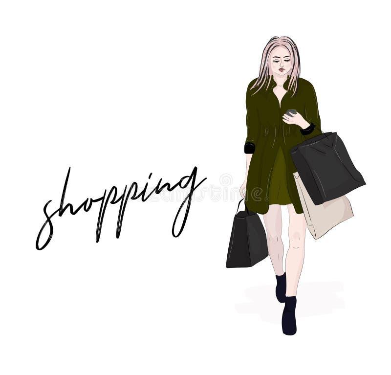 去在购物的传染媒介时髦的妇女 有请求读sms的顾客的女孩在手上 现代成套装备 周末销售时尚秀丽我 向量例证