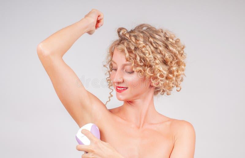 去壳、头发撤除和护肤概念 库存照片