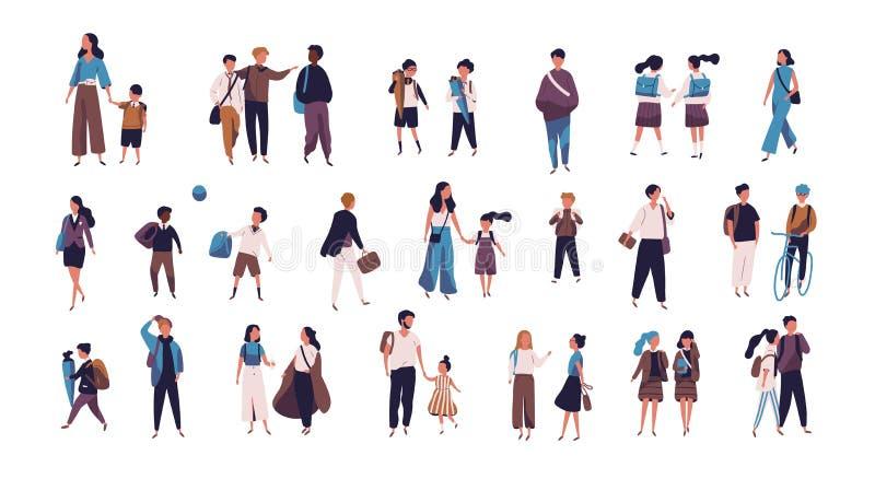 去学校、学院或者大学的学生、小学生有父母的和学生人群  在街道上的微小的人 向量例证