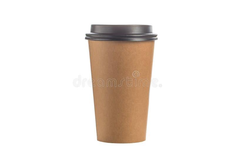 去掉在白色背景隔绝的棕色热杯子的咖啡 免版税库存照片