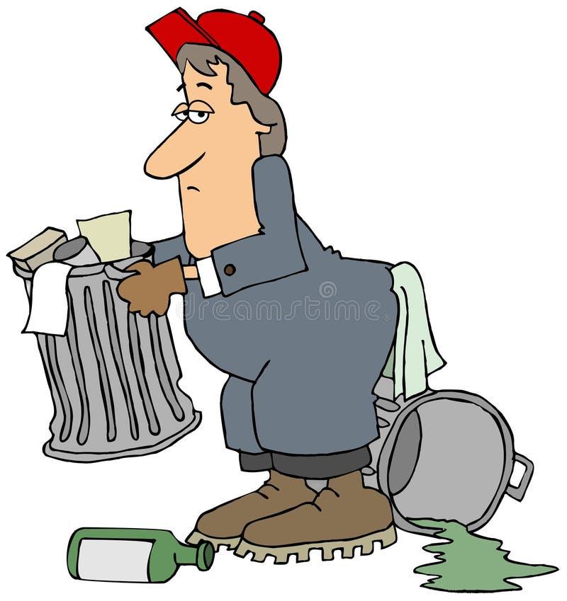 去掉垃圾的倒垃圾工人 皇族释放例证