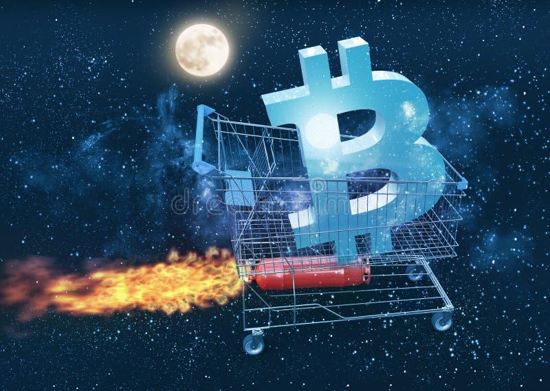 去月亮概念的Bitcoin价格 皇族释放例证