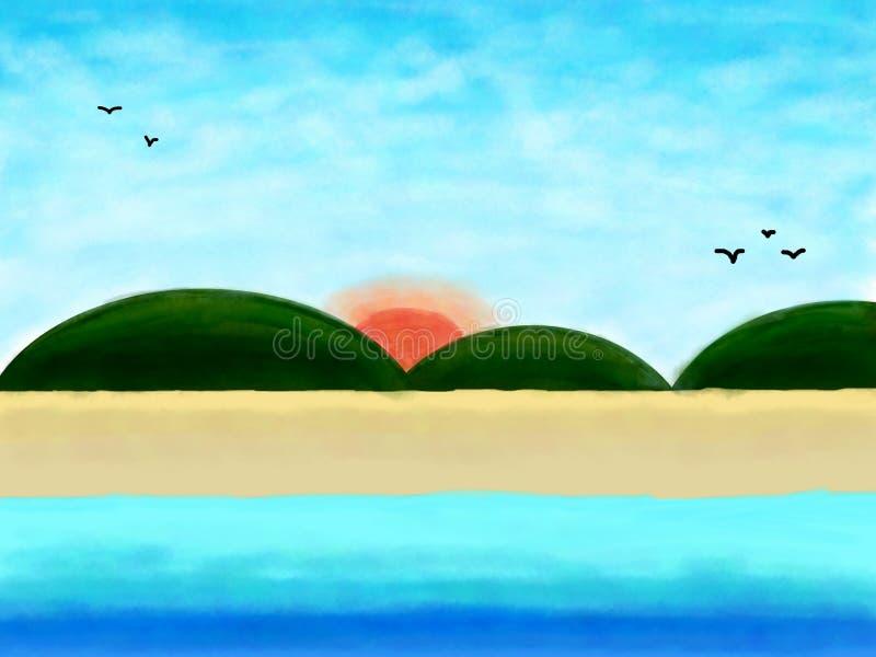 去海滩,由水彩的夏天背景 库存照片