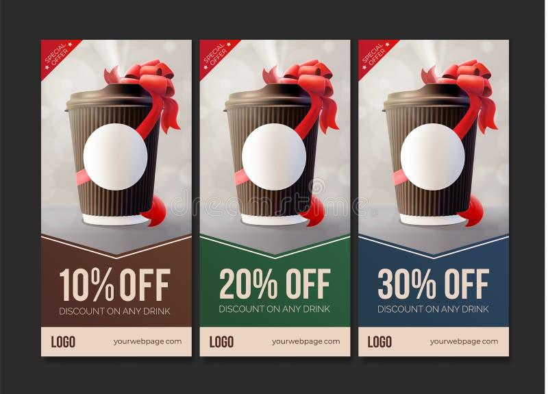 去的咖啡折扣证件 咖啡有一条红色丝带的波纹杯 皇族释放例证